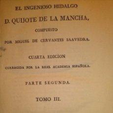 Libros antiguos: 1819 DON QUIJOTE DE LA MANCHA. REAL ACADEMIA ESPAÑOLA. IMPRENTA REAL. GRABADOS DE RIVELLES. TOMO III. Lote 40096608