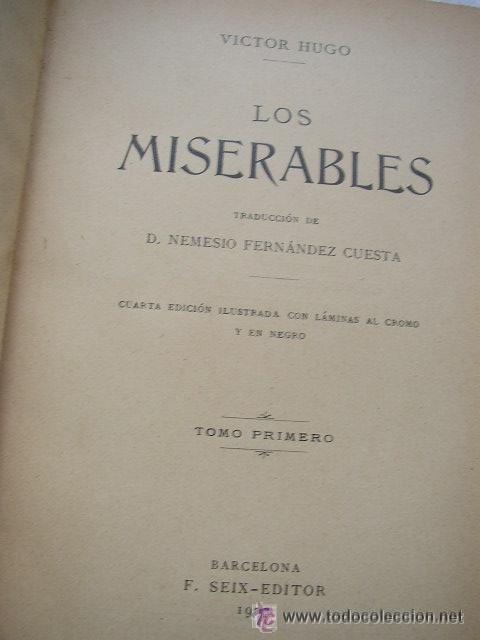 Libros antiguos: LOS MISERABLES-OBRAS COMPLETAS DE VÍCTOR HUGO- 4 VOLUMENES CON 8 TOMOS ILUSTRADOS-1903/1904/1905 - Foto 3 - 42880429