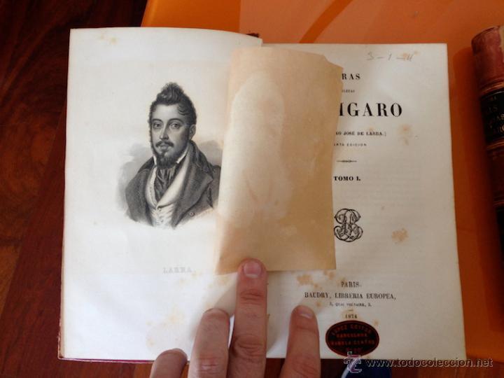Libros antiguos: AÑO 1874.- OBRAS COMPLETAS DE FIGARO. MARIANO JOSE DE LARRA. PRECIOSA ENCUADERNACIÓN. - Foto 2 - 43161714