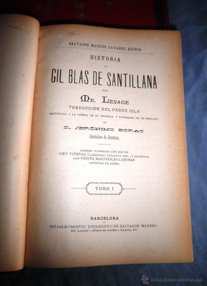 Libros antiguos: HISTORIA DE GIL BLAS DE SANTILLANA - LESAGE - AÑO 1890 - BELLAS VIÑETAS Y LAMINAS. - Foto 3 - 43407313