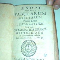 Libros antiguos: RARA EDICIÓN GRECO LATINA DE LAS FÁBULAS DE ESOPO - 1706. Lote 43503954