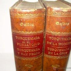 Libros antiguos: DOS TOMOS CON TAPAS DE PIEL....GALDOS.........TORQUEMADA.......AÑO 1898. Lote 43808670
