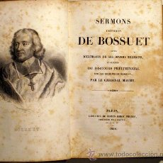Libros antiguos: BOSSUET - SERMONS CHOISIS DE BOSSUET - PARIS 1844. Lote 46400935