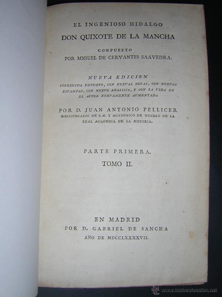 Libros antiguos: 1797 - CERVANTES - DON QUIXOTE DE LA MANCHA - GABRIEL DE SANCHA - Foto 7 - 46648647
