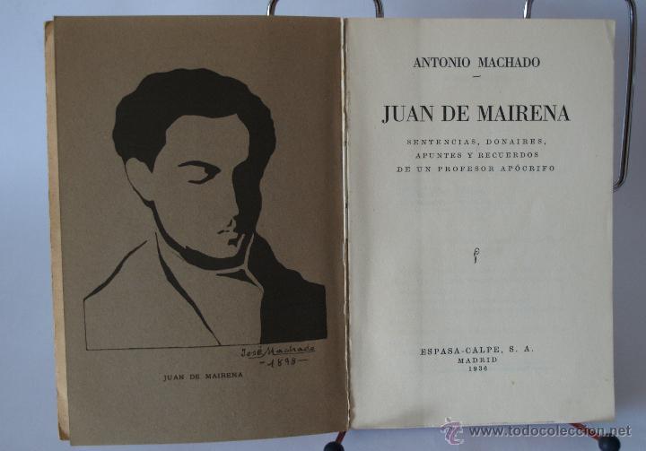 Libros antiguos: JUAN DE MAIRENA- ANTONIO MACHADO- 1ª EDICION- ESPASA CALPE 1936 - Foto 2 - 48962791