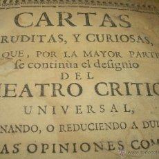 Libros antiguos: THEATRO CRITICO UNIVERSAL: LIBRO TAPAS DE PERGAMINO FEYJOO TOMO I AÑO 1.742.DEMONIOS,DUENDES.. Lote 49717899