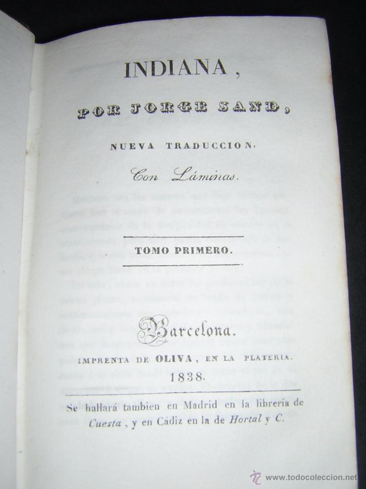 Libros antiguos: 1838 - GEORGE SAND - INDIANA - Foto 4 - 53706152