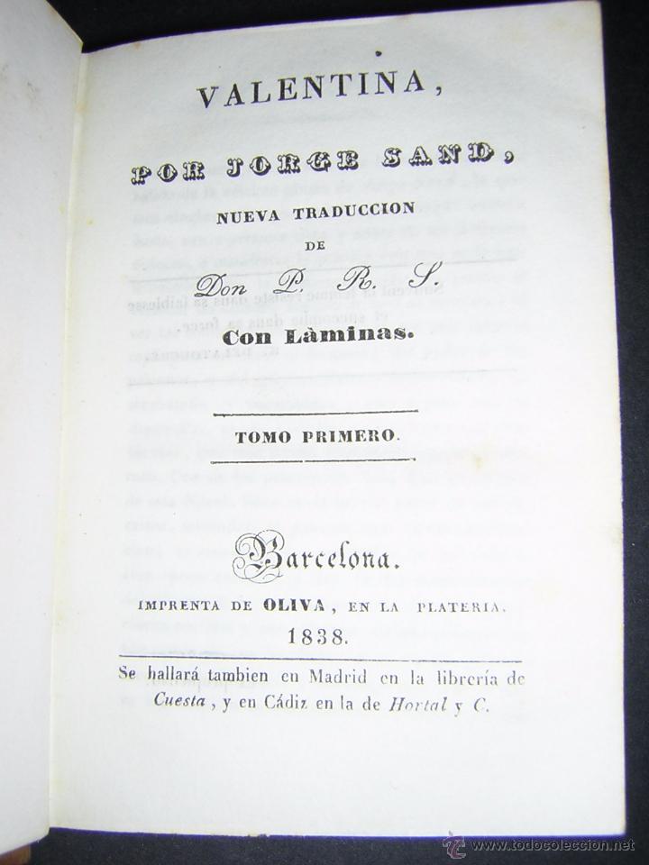 Libros antiguos: 1838 - JORGE SAND - VALENTINA - Foto 3 - 53841760