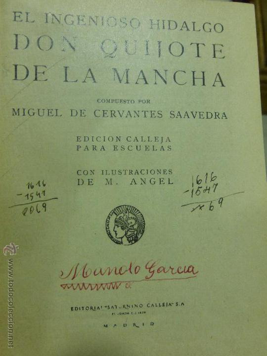 Libros antiguos: DON QUIJOTE DE LA MANCHA (1.905) de Miguel de Cervantes. Editorial Saturnino Calleja - Foto 4 - 54294745