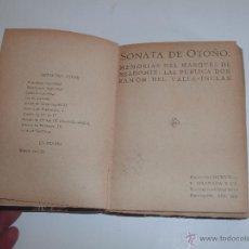 Libros antiguos: SONATA DE OTOÑO - MARQUES DE BRADOMIN -. Lote 54400804