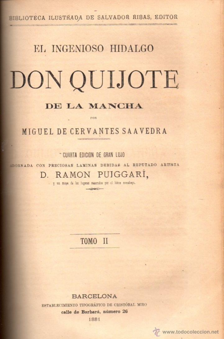 Libros antiguos: CERVANTES : DON QUIJOTE DE LA MANCHA (MANERO, 1882) - Foto 2 - 54764451