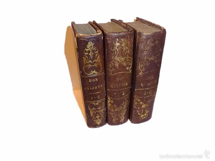 CERVANTES,DON QUIJOTE DE LA MANCHA 3 VOL-EDITORIAL PONS 1.845 (Libros antiguos (hasta 1936), raros y curiosos - Literatura - Narrativa - Clásicos)