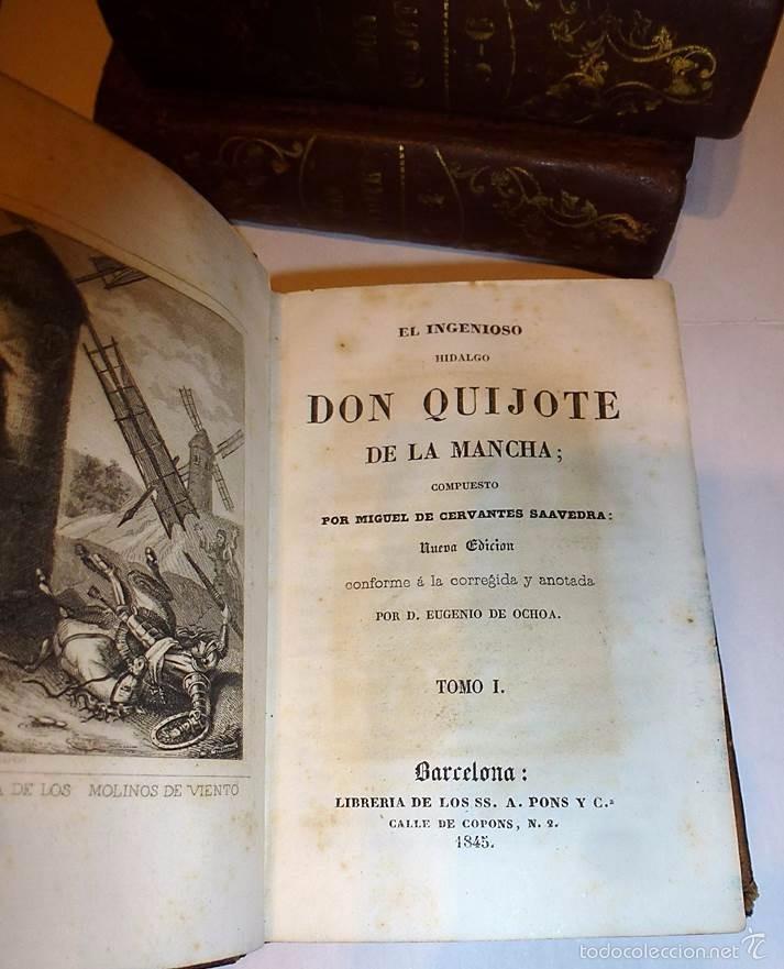 Libros antiguos: CERVANTES,DON QUIJOTE DE LA MANCHA 3 VOL-EDITORIAL PONS 1.845 - Foto 2 - 55697344