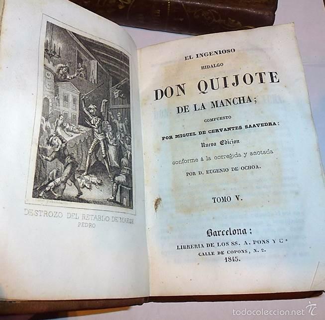 Libros antiguos: CERVANTES,DON QUIJOTE DE LA MANCHA 3 VOL-EDITORIAL PONS 1.845 - Foto 4 - 55697344