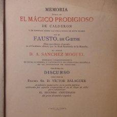 Libros antiguos: MEMORIA ACERCA DE EL MÁGICO PRODIGIOSO DE CALDERÓN........1881, 212 PAGINAS. Lote 55912495