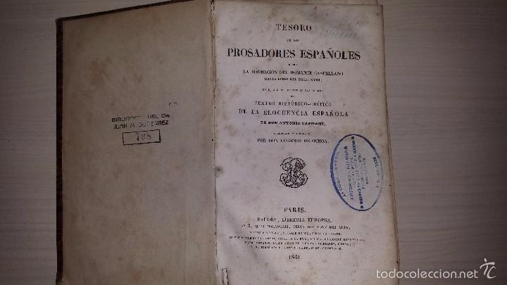 TESORO DE LOS PROSADORES ESPAÑOLES DESDE LA FORMACIÓN DEL ROMANCE CASTELLANO...(1841) EUGENIO OCHOA (Libros antiguos (hasta 1936), raros y curiosos - Literatura - Narrativa - Clásicos)