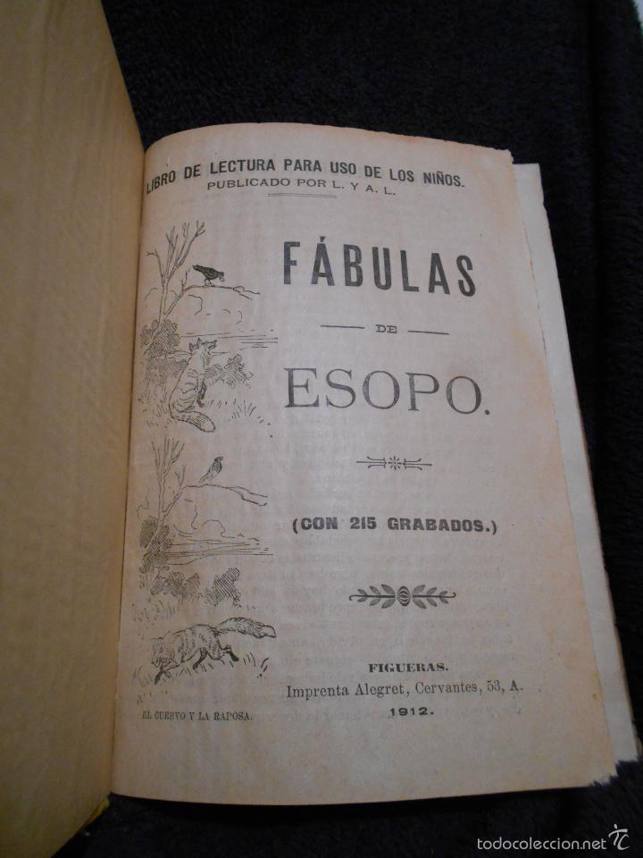 Libros antiguos: Fábulas de Esopo. Depósito de la Sociedad Española de Tratados Religiosos y Libros. Figueras, 1912 - Foto 4 - 56243696