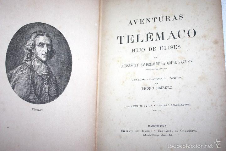 Libros antiguos: LAS AVENTURAS DE TELÉMACO, HIJO DE HULISES 1909. PRECISA RESTAURACIÓN. - Foto 2 - 57687239