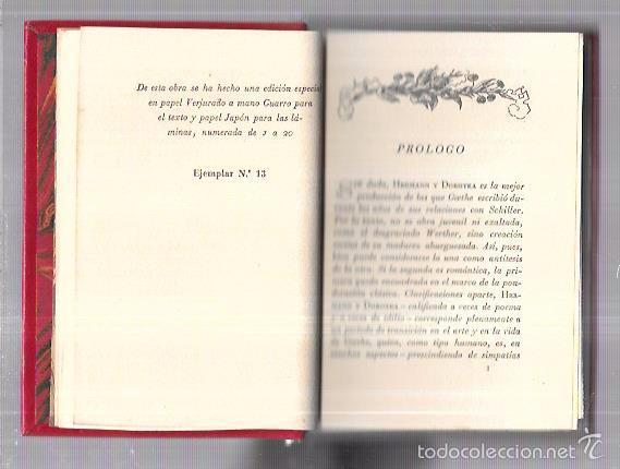 Libros antiguos: MONTANER Y SIMON. HERMANN Y DOROTEA. GOETHE. SERIE LIMITADA. VER FOTOS. GRAN PAPEL. AÑOS 40 - Foto 2 - 58576817