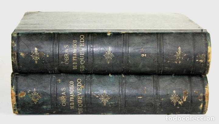 8036 - OBRAS DE FRANCISCO QUEVEDO. TOMOS I Y II(VER DESCRIP). EDIT. TERRAZA, ALIENA Y CIA. 1882. (Libros antiguos (hasta 1936), raros y curiosos - Literatura - Narrativa - Clásicos)