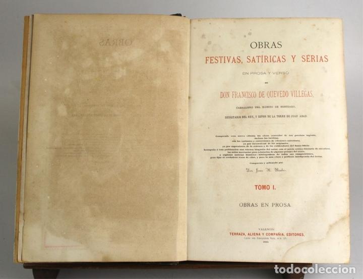 Libros antiguos: 8036 - OBRAS DE FRANCISCO QUEVEDO. TOMOS I Y II(VER DESCRIP). EDIT. TERRAZA, ALIENA Y CIA. 1882. - Foto 4 - 62354516