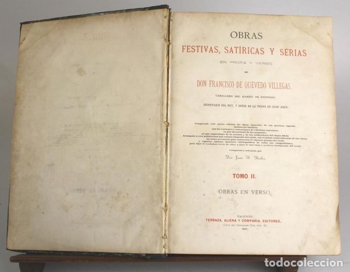 Libros antiguos: 8036 - OBRAS DE FRANCISCO QUEVEDO. TOMOS I Y II(VER DESCRIP). EDIT. TERRAZA, ALIENA Y CIA. 1882. - Foto 9 - 62354516