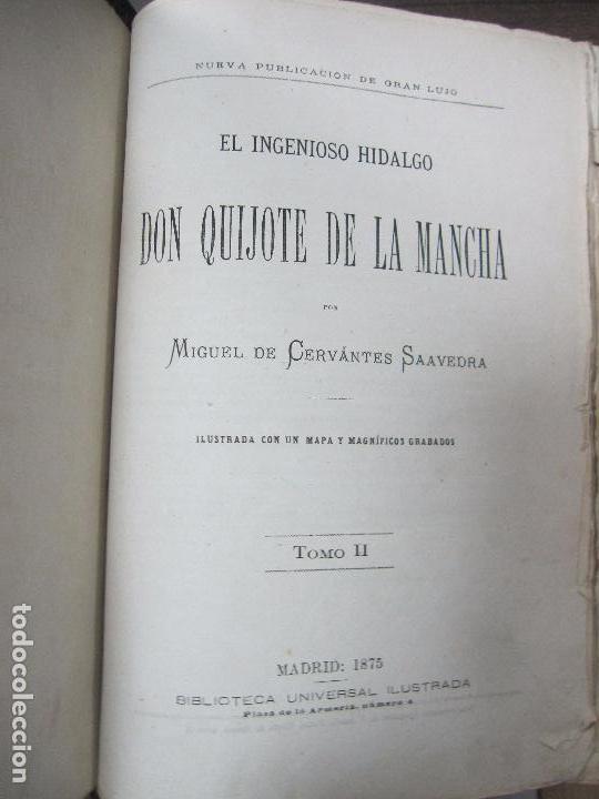 DON QUIJOTE DE LA MANCHA. TOMO II. MIGUEL DE CERVANTES. BIBLIOTECA UNIVERSAL ILUSTRADA.1875. (Libros antiguos (hasta 1936), raros y curiosos - Literatura - Narrativa - Clásicos)