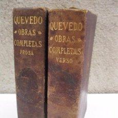 Old books - OBRAS COMPLETAS - 2 TOMOS - PROSA Y VERSO - FRANCISCO DE QUEVEDO - EDICIONES AGUILAR - AÑO 1932. - 67404529