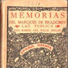 Libros antiguos: VALLE INCLAN : MEMORIAS DEL MARQUÉS DE BRADOMIN - SONATA DE ESTÍO (RIVADENEYRA, 1933). Lote 67406889