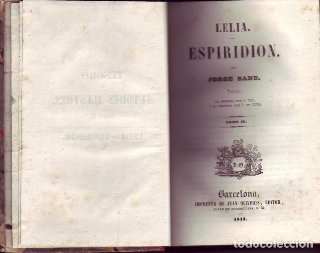 LELIA Y ESPIRIDIÓN (2 TOMOS). SAND, JORGE. JUAN OLIVERES, IMPRESOR. BARCELONA, 1843. (Libros antiguos (hasta 1936), raros y curiosos - Literatura - Narrativa - Clásicos)