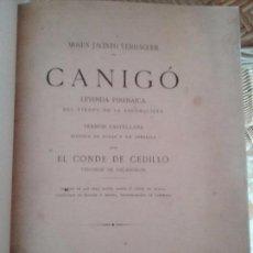 Libros antiguos: CANIGO. LEYENDA PIRENAICA DEL TIEMPO DE LA RECONQUISTA. CASTELLANO.MOSEN JACINTO VERDAGUER. Lote 77614933