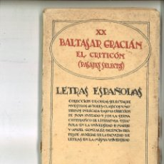 Libros antiguos: EL CRITICÓN (PASAJES SELECTOS). BALTASAR GRACIÁN. Lote 77913497