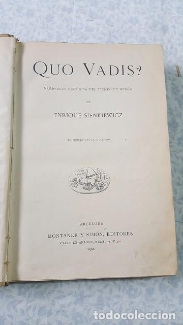 QUO VADIS? SIENKIEWICZ. 1900. (Libros antiguos (hasta 1936), raros y curiosos - Literatura - Narrativa - Clásicos)