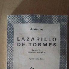 Libros antiguos: EL LAZARILLO DE TORMES. ANONIMO. COLEC. AUSTRAL. REF. 030. Lote 81196628