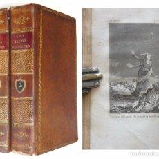 Old books - 1821 - Dos Tomos Ilustrados del Siglo XIX - 9 Láminas - Encuadernación - Cortes Dorados! - 108040603
