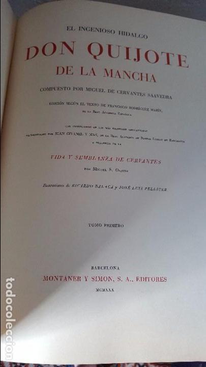 Libros antiguos: Don Quijote de la Mancha. 1930. Edición.Montaner Simón. Cervantes ilustraciones Balaca y Pellicer - Foto 4 - 88983500