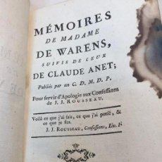 Libros antiguos: MEMOIRES DE MADAME DE WARENS 1786 CLAUDE ANET J.J. ROUSSEAU MANCHA DE TINTA COMPLETO FRANCES. Lote 90224076