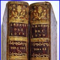 AÑO 1770: MONTESQUIEU: EL ESPÍRITU DE LAS LEYES. 2 TOMOS DEL SIGLO XVIII.