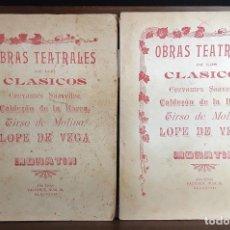 Libros antiguos: OBRAS TEATRALES DE LOS CLÁSICOS. 2 EJEMPLARES. VARIOS AUTORES. EDITOR ALEU. S/F.. Lote 93356075
