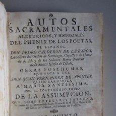 Libros antiguos: 1760-AUTOS SACRAMENTALES DE PEDRO CALDERÓN DE LA BARCA.DEDICADO PATRONA CASTRO URDIALES.VIZCAYA.ORIG. Lote 97789147