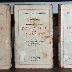 Libros antiguos: DON QUIXOT DE LA MANCHA. 3 VOLÚMENES. CERVANTES. LLIBRETER ANTONI LÓPEZ. S/F.. Lote 99414423