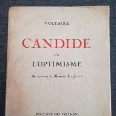 Libros antiguos: EDICIÓN LIMITADA Y NUMERADA DE CANDIDE OU L'OPTIMISME (1925), VOLTAIRE. 10 GRABADOS MOREAU LE JEUNE. Lote 99830743