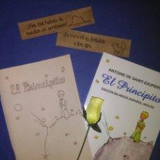 Libros antiguos: LOTE LIBRO EL PRINCIPITO+LIBRETA DE CUERO PIROGRABADA+2 MARCAPÁGINAS DE CUERO. Lote 101742963