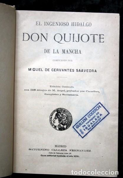 Libros antiguos: DON QUIJOTE DE LA MANCHA - CERVANTES - CALLEJA - PERLA - M. ANGEL CARRETERO - SAMPIETRO - SANTAMARIA - Foto 5 - 103121227
