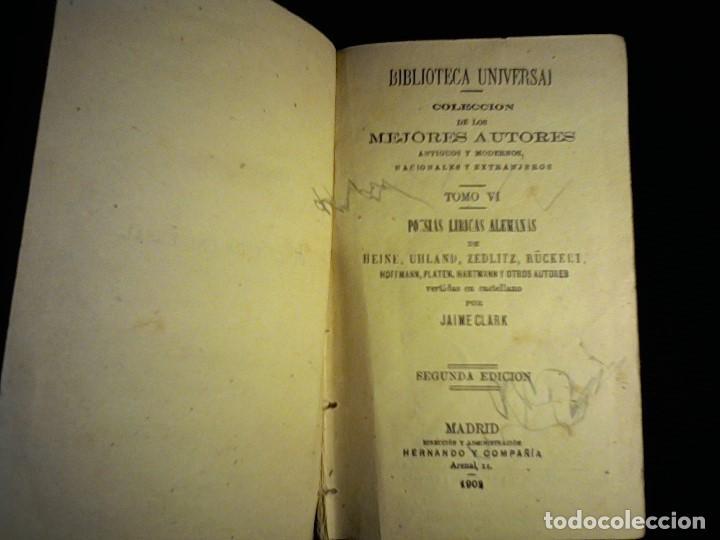 1902 POESÍAS LÍRICAS ALEMANAS COLECCIOS ANTIGUOS Y MODERNOS, TOMO VI (Libros antiguos (hasta 1936), raros y curiosos - Literatura - Narrativa - Clásicos)