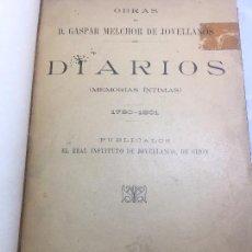 Libros antiguos: DIARIOS MEMORIAS ÍNTIMAS JOVELLANOS GASPAR MELCHOR ASTURIAS GIJÓN 1790-1801 INTITUTO JOVELLANOS 1915. Lote 103951363