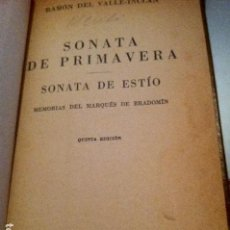 Libros antiguos: OBRA DE VALLE-INCLÁN. SONATA DE PRILMAVERA. SONATA DE ESTIO. BONITA ENCUADERNACIÓN.. Lote 103789999