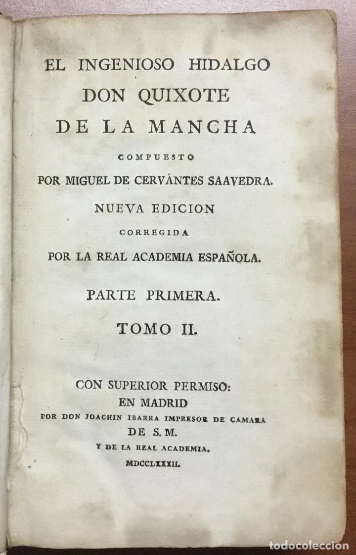 Libros antiguos: EL INGENIOSO HIDALGO DON QUIXOTE DE LA MANCHA. IBARRA, 1782. 4 TOMOS. 24 LÁMINAS Y UN MAPA PLEGADO. - Foto 5 - 108988911