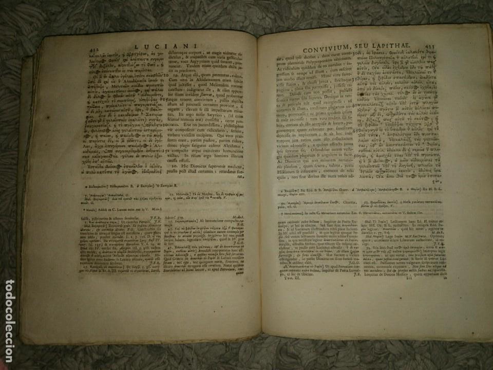 Libros antiguos: Luciani Samosatensis. Mosis Solani & I.M Gesneri. Opera Cum Nova Versione. 1743-46. 4 Vol. - Foto 10 - 109037515