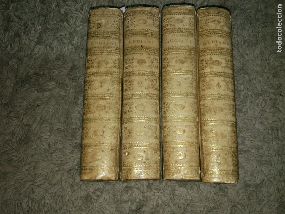LUCIANI SAMOSATENSIS. MOSIS SOLANI & I.M GESNERI. OPERA CUM NOVA VERSIONE. 1743-46. 4 VOL. (Libros antiguos (hasta 1936), raros y curiosos - Literatura - Narrativa - Clásicos)
